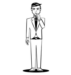 Business man thinking comic outline vector