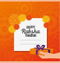 Card hindu event and hand with present vector