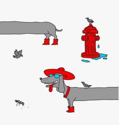 Cartoon dog girl dachshund caricature vector