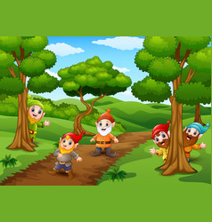 Cartoon happy dwarf in the forest vector