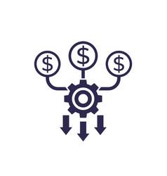 Cash flow optimization icon on white vector