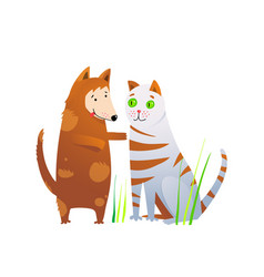 Cat and dog animals cartoon clipart doggy vector