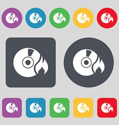 CD icon sign A set of 12 colored buttons Flat vector image