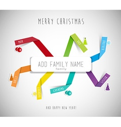Christmas best wishes for family template with vector image