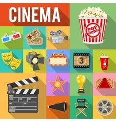 Cinema Flat Icons Set vector