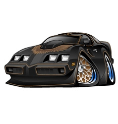 Classic American Black Muscle Car Cartoon vector