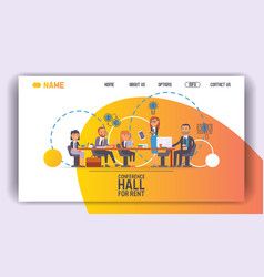 Conference hall for rent seminar room landing page vector