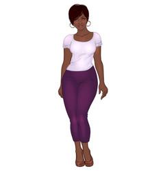 Curvy african american girl in casual wear vector