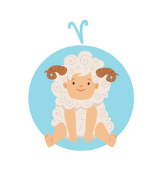 cute little boy as aries astrological sign vector image