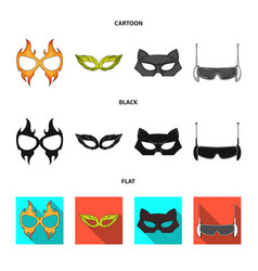 Design of hero and mask sign set of hero vector