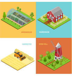 farm banner card set isometric view vector image