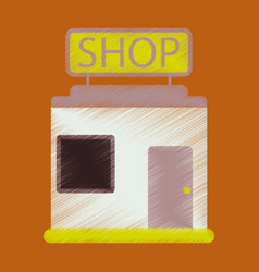 Flat icon in shading style shop store vector