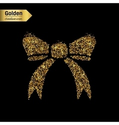 Gold glitter icon of bow tie isolated on vector image