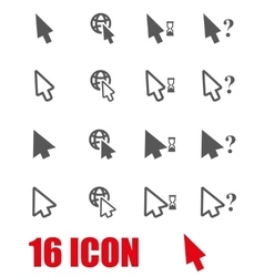 grey cursor icon set vector image