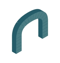 Grey semicircular stone arch icon vector