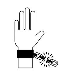 hand human with chains vector image vector image