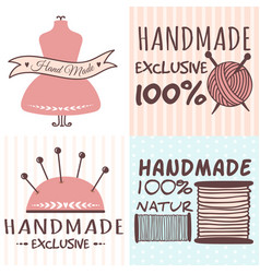 Handmade needlework craft badges sewing banners vector