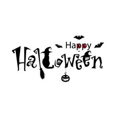 happy halloween text banner black text decorated vector image