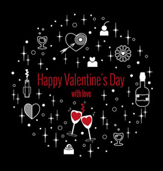 happy valentines day greeting card in circle vector image
