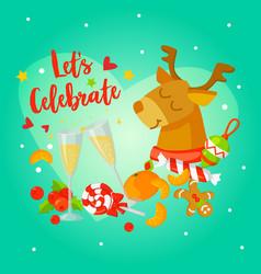 Holiday card design lets celebrate vector