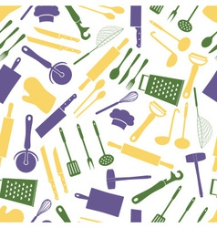 home kitchen cooking utensils color pattern eps10 vector image