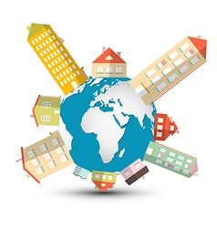 Housing Development with Houses on Globe - E vector image