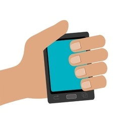Human hand holding black smartphone vector