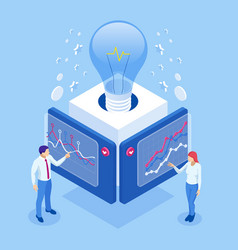Isometric concept idea business meeting and vector