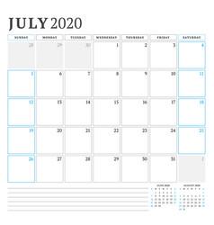 July 2020 calendar planner stationery design vector