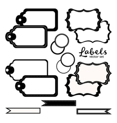 Labels set black and white tags vector image