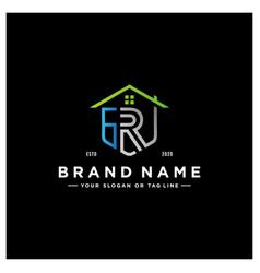 Letter gr home logo design vector