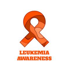 Leukemia awareness papercut ribbon vector