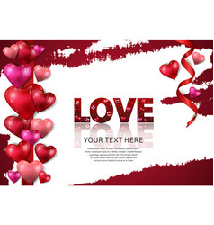 Love text red color with element on white vector
