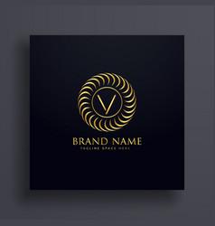 luxury letter v logo concept design in golden vector image