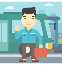 Man travelling by bus vector image