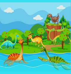 many dinosaurs in the lake vector image