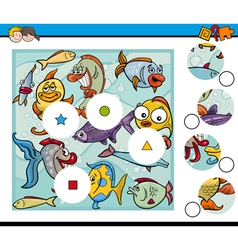 Match pieces game with fish vector