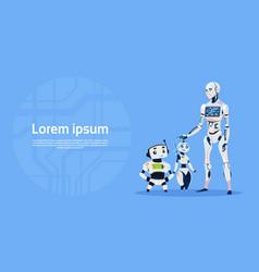Modern robot group futuristic artificial vector