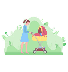 Mother with newborn kid in perambulator vector
