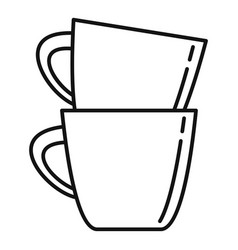 plastic tea cups icon outline style vector image