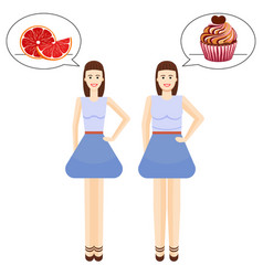 pretty girls favorite healthy and unhealthy food vector image