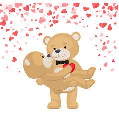 Romantic male bear holding female animal on arms vector