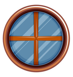 round window with wooden frame vector image