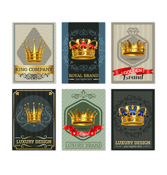Royal crown realistic bannesr set vector