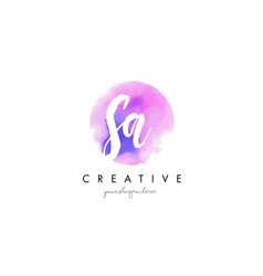sa watercolor letter logo design with purple vector image