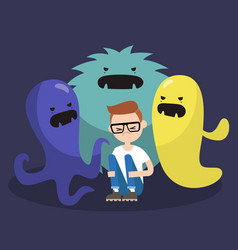 Scared character surrounded by ugly monsters vector
