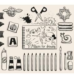 School office supplies top view Scissors album vector