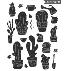 set of black shaped cactus vector image