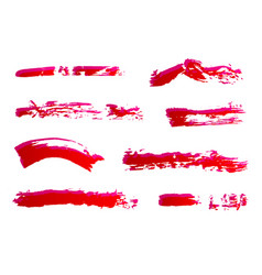 set of hand painted red ink brush strokes grunge vector image