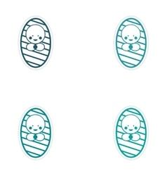 Set of stickers newborn girl on white background vector